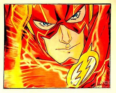 Super Hero Drawings Drawing - The Flash by Jesse Steel