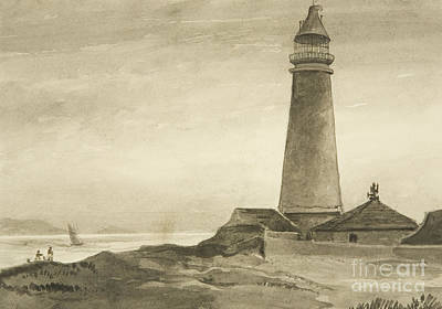 Watercolor Pencil Painting - The Flat Holm Lighthouse by John Reverend Eden