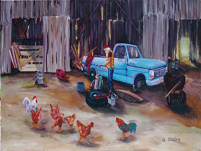 Old Barn Drawing Painting - The Flat Tire by Gail Daley