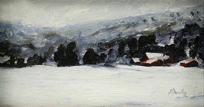 Heather Burton Painting - The Flats In Winter by Heather Burton