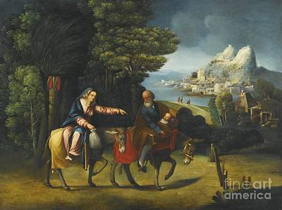Poster Painting - The Flight Into Egypt by Battista Dossi