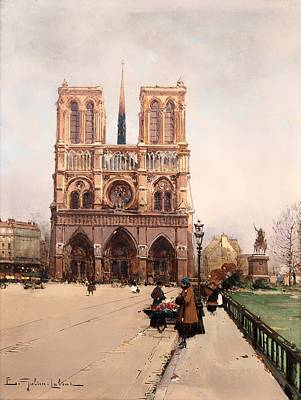 Notre Dame Cathedral Painting - The Flower Lady At Notre Dame by Mountain Dreams
