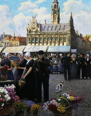 Cobbles Painting - The Flower Market In Middelburg by Henri Houben