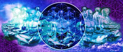 The Flower Of Life Meditation Print by AJ Fortuna