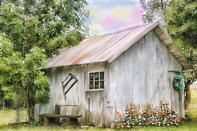 Shed Digital Art - The Flower Shed by Mary Timman