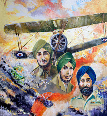 Baba Painting - The Flying Sikhs by Sarabjit Singh