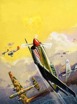 Soaring Painting - The Flying Tigers During The Spanish Civil War by Severino Baraldi