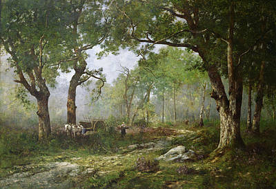 Horse And Cart Painting - The Forest Of Fontainebleau by Leon Richet