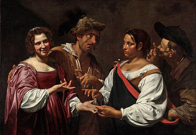 Simon Vouet Painting - The Fortune Teller by Simon Vouet