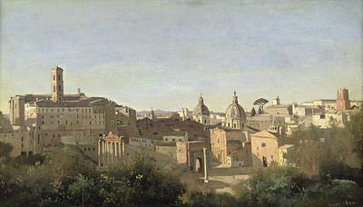 Oil Dome Painting - The Forum Seen From The Farnese Gardens by Jean Baptiste Camille Corot