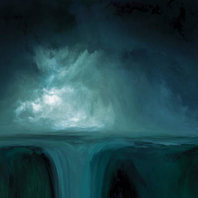 Stormy Mixed Media - The Fountain by Lonnie Christopher