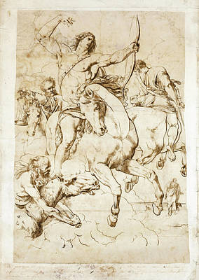 Luigi Sabatelli Drawing - The Four Horsemen Of The Apocalypse by Luigi Sabatelli