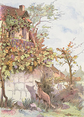 House Plant Drawing - The Fox And The Grapes by Georges Fraipont