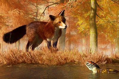 Vixen Digital Art - The Fox And The Turtle by Daniel Eskridge