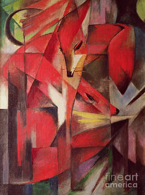 Red Fox Painting - The Fox by Franz Marc