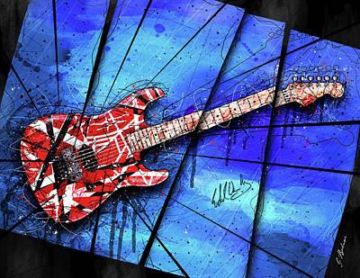 Van Halen Digital Art - The Frankenstrat On Blue I by Gary Bodnar