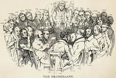 Coleridge Drawing - The Fraserian Circle. A 19th Century by Vintage Design Pics