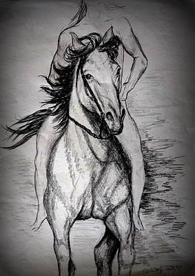 Horses Drawing - The Freedom Of Riding by Georgia's Art Brush
