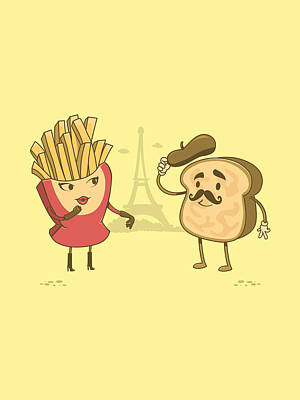 Fries Drawing - The French Connection by Ana Villanueva