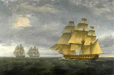 Painting - The Frigate Naiad Giving Chase To Spanish Frigates Santa Brigada And Thetis At Sea by Thomas Whitcombe