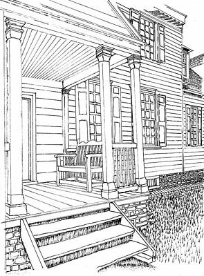 The Front Porch Bench Print by Dawn Boyer