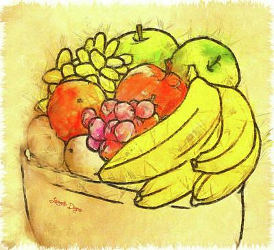 Pencil Painting - The Fruit Pot by Leonardo Digenio