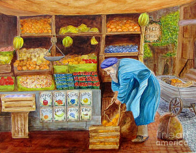 Fruit Stand Painting - The Fruitman by Pauline Ross