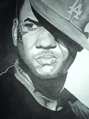 Hip Hop Drawing - The Game by Geoff Moore