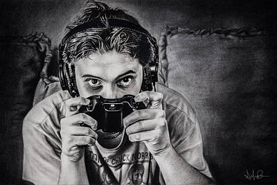 The Gamer - Charcoal Drawing Original by Shayla Bowen
