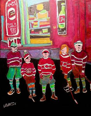 Menard Painting - The Gang Street Hockey Rue Orleans by Michael Litvack