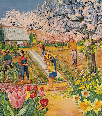 The Garden In Spring Print by English School