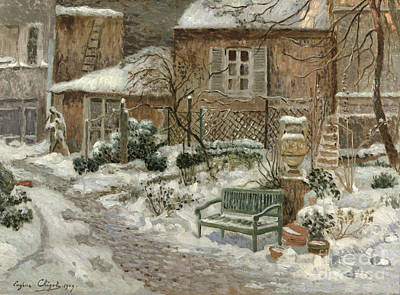 Rooftops Painting - The Garden Under Snow by Eugene Chigot