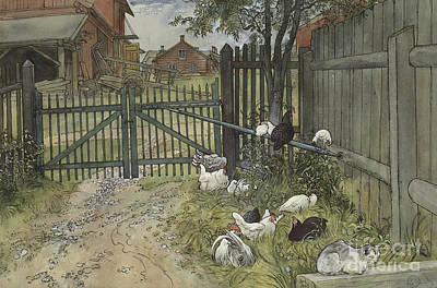 Rooster Drawing - The Gate by Carl Larsson