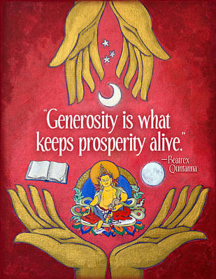 Tibetan Buddhism Mixed Media - The Generosity Buddha by Jennifer Masters