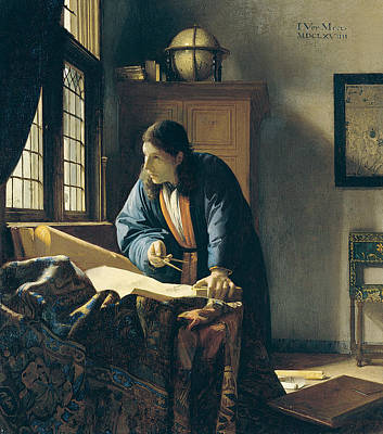 Golden Globe Painting - The Geographer by Jan Vermeer