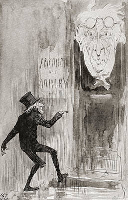 The Ghostly Knocker. It Was Not Angry Print by Vintage Design Pics
