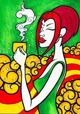 The Girl Drinking Coffee In Space Original by Darya Lavinskaya