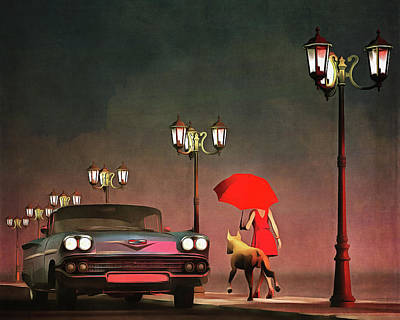Dog Painting - The Girl In Red by Jan Keteleer