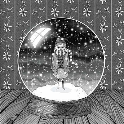 Pen And Ink Drawing - The Girl In The Snow Globe  by Andrew Hitchen