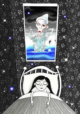 Asleep Drawing - The Girl Who Dreamed Of David Bowie  by Andrew Hitchen