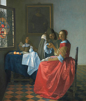 Wineglass Painting - The Girl With A Wineglass by Jan Vermeer