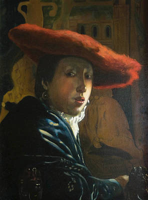 Painting - The Girl With The Red Hat By D.amendola After Vermeer by Dominique Amendola