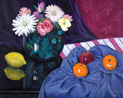 Purple Flowers Painting - The Glass Bowl Of Flowers by Sandra Delaney