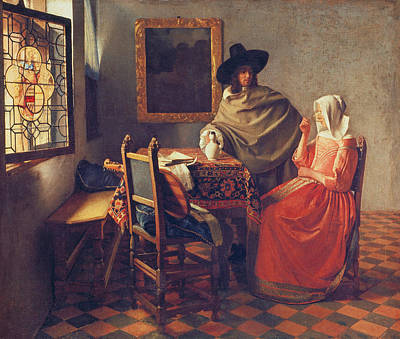 The Glass Of Wine Print by Jan Vermeer