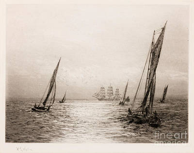 The Glittering Path Solent Shipping Print by William Lionel Wyllie