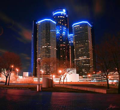 The Gm Renaissance Center At Night From Hart Plaza Detroit Michigan Original by Gordon Dean II