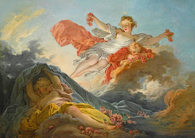 Jean-honore Fragonard Painting - The Goddess Aurora Triumphing Over Night by Jean-Honore Fragonard