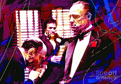 Acrylic Pop Art Painting - The Godfather Kiss by David Lloyd Glover