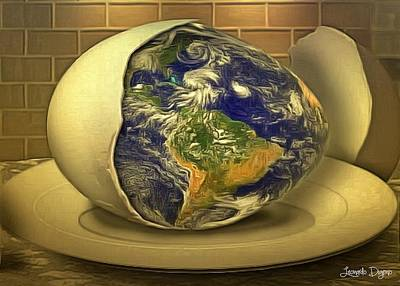 America The Continent Painting - The God's Egg by Leonardo Digenio