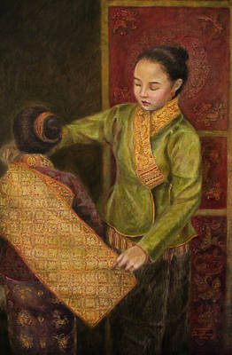 Laos Painting - The Gold Brocade  by Sompaseuth Chounlamany